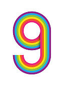 Number 9 with colorful pattern