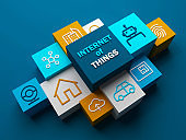 INTERNET OF THINGS concept on blue background (3D render)