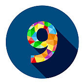 Number 9 with polygon pattern on blue button