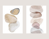 Set of abstract watercolor compositions in the Scandinavian style. Geometric shapes on white background