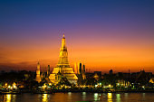 Sunset at Arun Temple or Wat Arun, locate at along the Chao Phraya river with a colorful sky in Bangkok