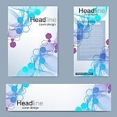 Set flyer, brochure size A4 template,banner. Molecular structure with connected lines and dots. Scientific pattern atom DNA with elements for magazine, leaflet, cover, poster design.
