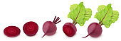 Set of fresh whole and cutted beet isolated on a white background.