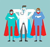 Doctor superhero. Doc is a real super hero. Medical worker in mask and raincoat.Health protection. fight against coronavirus. COVID-19 pandemic epidemic