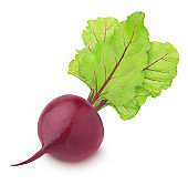Fresh whole beet with leaves isolated on a white background.