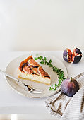 Homemade gluten free fig cheesecake with fresh figs