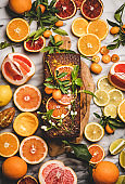 Citrus Mediterranean flourless vegan loaf cake with fresh citrus fruits
