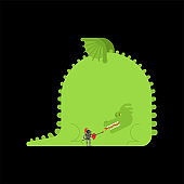 Dragon and knight. Fighting monster. vector illustration