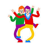 LGBT Lovers Dancing. Loving couple Homosexual relationship. Romantic relationship. Love illustration 3