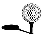 sport ball for golf on stand, tee with shadow isolated on white background. Golf competition. Vector