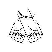 Zip Plastic handcuffs symbol of violence and bullying. Sign Lawlessness and torture. Police arbitrariness