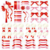 Variation set of red and pink ribbon gradient