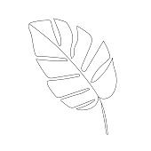 leaf vector one line art.