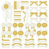 Variation set of gold and white ribbon line pastel color