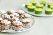 Plate with freshly baked sweet muffins. Sweet pastries, recipes, cooking
