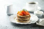 Smoked salmon pancakes