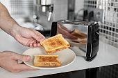 Breakfast toast. Toast bread close up a