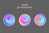 Abstract sphere neon colors gradients isolated