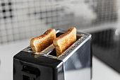 Breakfast toast. a Toast bread close up
