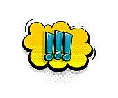 Comic text exclamation mark speech bubble pop art style