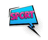 Comic text sport speech bubble pop art style