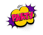 Comic text party speech bubble pop art style