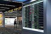 Electronic information board for flight status at the airport terminal.