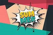 Summer comic text speech bubble pop art