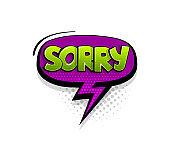 Comic text sorry speech bubble pop art style