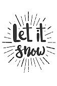 Let it snow Christmas wishes lettering in doodle style.