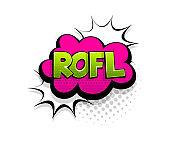 Comic text rofl speech bubble pop art style