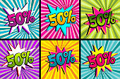 Comic text 50 percent sale set discount.