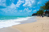 Gorgeous tropical sandy beach with palm trees, blue sky and clear water.