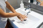 Washing hands rubbing with soap woman for corona virus prevention, hygiene to stop spreading coronavirus