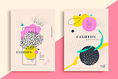 Set of artistic fashion universal posters design.
