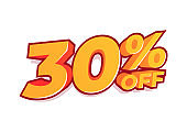 30% off sale tag. Sale of special offers. Discount with the price is 30%.