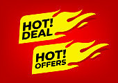 Hot deal and Hot offers fire labels.
