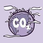 Earth globe suffering under climate change or Global Warming, CO2. Hand drawn doodle cartoon.