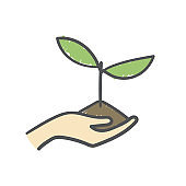 Human hand holding seedling in soil. Hand-drawn on white background.
