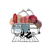 Vanlife set. Vector sketch and watercolor background