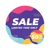 Sale limited time only with colorful geometric shapes banner.