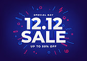 Special day 12.12 Shopping day sale poster or flyer design. 12.12 online sale.