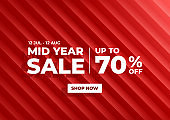 Mid Year Sale, Summer sale banner. Red background special offers and promotion template design.