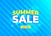 Summer sale banner. Blue background special offers and promotion template design.