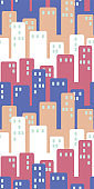 cityscape with tall buildings seamless vector pattern