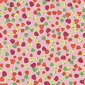 vibrant strawberries seamless vector pattern