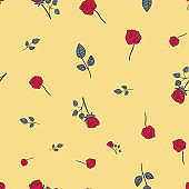 red roses on yellow seamless vector pattern