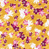 Plum blossoms seamless vector pattern on yellow