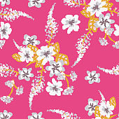 light floral bouquets seamless vector pattern on a vibrant pink