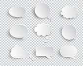 White blank speech bubbles isolated vector set